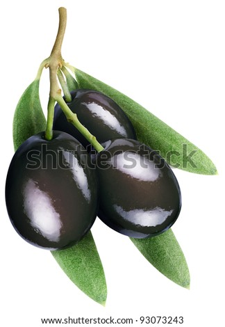 Olives with leaves on a white background. File contains the path to cut.