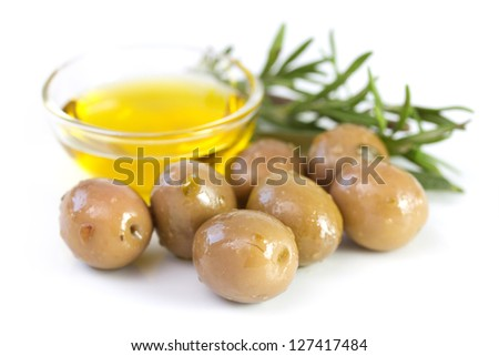 olives with olive oil and rosemary