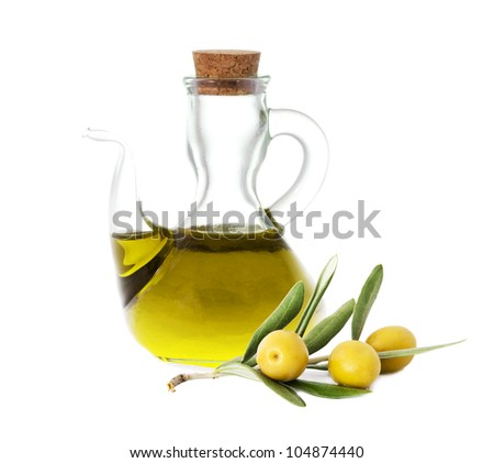 olives with olive oil bottles isolated on white background