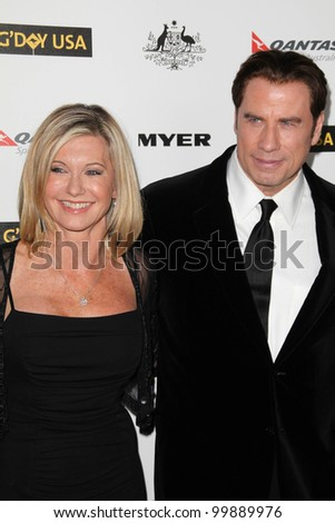 Olivia Newton John, John Travolta at the G'Day USA Australia Week 2011 Black Tie Gala, Hollywood Palladium, Hollywood, CA. 01-22-1