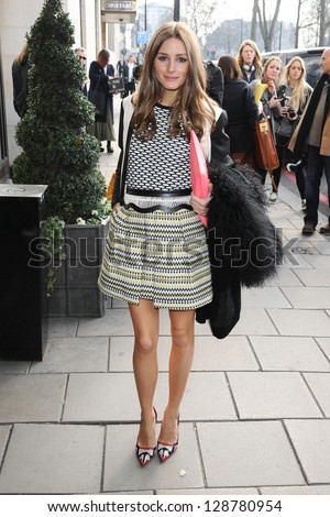 Olivia Palermo arrives at the Temperley show as part of London Fashion Week AW13, Dorchester Hotel, London. 17/02/2013 Picture by: Steve Vas