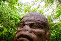 Olmec colossal head in La Venta park, Villahermosa, Tabasco, Mexico