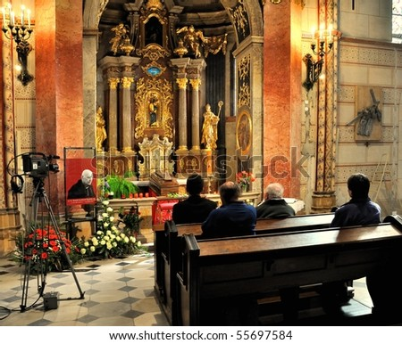 OLOMOUC - APRIL 29: Tomas Cardinal Spidlik, S.J., died on Friday, April 16th, 2010 in Rome, casket in St. Wenceslas cathedral. April 29, 2010 in Olomouc, Czech Republic. - stock photo