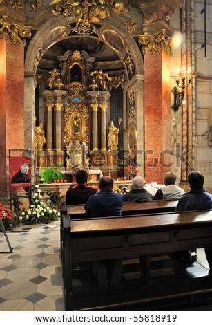 OLOMOUC - APRIL 29: Tomas Cardinal Spidlik, S.J., died on Friday, April 16th, 2010 in Rome, casket in St. Wenceslas cathedral. April 29, 2010 in Olomouc, Czech Republic.