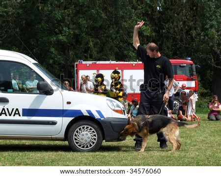 OLOMOUC, CZECH REPUBLIC - JUNE 1 : Local authority officer demonstrates drug detection using police dog at local fair June 1, 2008 in Olomouc, Czech Republic.