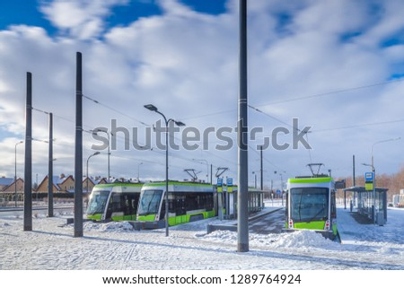 Olsztyn city in Poland - after 100 years, trams one of the most technologically advanced have returned to the city of Olsztyn #1289764924