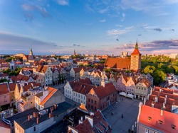 Olsztyn - the old town, the old town hall, the co-cathedral Basilica of Saint James, tenement houses, the new town hall, the Church of the Sacred Heart of Jesus, high gate