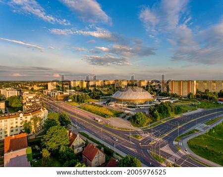 Olsztyn - Urania - Sports and entertainment hall. The intersection of Aleja Marszałka Józefa Piłsudskiego and Obiegowa streets Zdjęcia stock ©