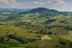 Oltrepo' Pavese landscape hills with wineyards and country roads and Montalto Pavese castle in the background in a sunny day