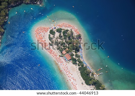 Oludeniz beach bird's eye view, Fethiye, Turkey