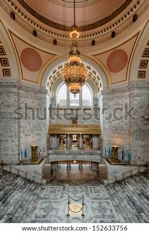 OLYMPIA, WASHINGTON - AUGUST 3: An empty rotunda area of the Washington State Capitol building on August 3, 2013 in Olympia, Washington
