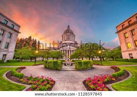 Olympia, Washington, USA state capitol building at dusk.  #1128597845