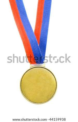 Olympic medal with red and blue isolated over white