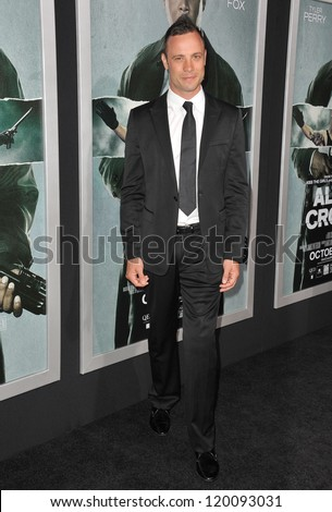 "Olympic & Paralympic athlete Oscar Pistorius at the Los Angeles premiere of ""Alex Cross"" at the Cinerama Dome, Hollywood. October 15, 2012  Los Angeles, CA Picture: Paul Smith"