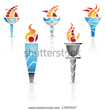 olympic torches with fire and reflections