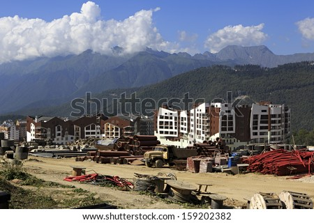 Olympic village in the mountains of Krasnaya Polyana (the final stage of construction).