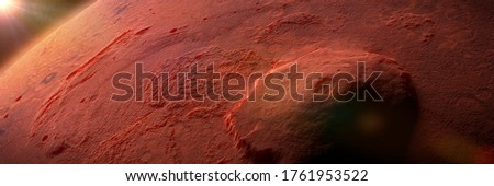 Olympus Mons, volcano on planet Mars, largest volcano in the Solar System (3d science illustration banner, elements of this image are furnished by NASA)