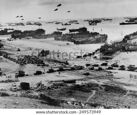 Omaha Beach after D-Day. Protected by barrage balloons, ships delivered trucks loaded with supplies. June 7-10, 1944, World War 2. Normandy, France, World War 2.