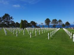 Omaha Beach cemetery on sunny day