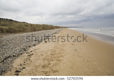 omaha beach in normandy d-day  battle - stock photo