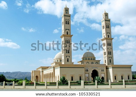Oman. Al Qubrah Mosque in Muscat, Oman in the Middle East.
