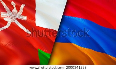Oman and Armenia flags. 3D Waving flag design. Armenia Oman flag, picture, wallpaper. Oman vs Armenia image,3D rendering. Oman Armenia relations alliance and Trade,travel,tourism concept