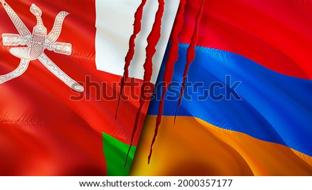 Oman and Armenia flags with scar concept. Waving flag,3D rendering. Armenia and Oman conflict concept. Oman Armenia relations concept. flag of Oman and Armenia crisis,war, attack concept