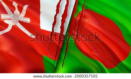 Oman and Bangladesh flags with scar concept. Waving flag,3D rendering. Bangladesh and Oman conflict concept. Oman Bangladesh relations concept. flag of Oman and Bangladesh crisis,war, attack concept