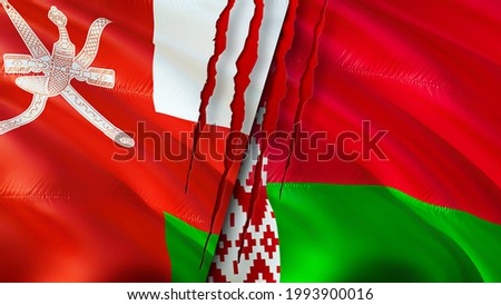 Oman and Belarus flags with scar concept. Waving flag,3D rendering. Belarus and Oman conflict concept. Oman Belarus relations concept. flag of Oman and Belarus crisis,war, attack concept