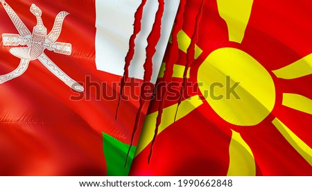 Oman and North Macedonia flags with scar concept. Waving flag,3D rendering. North Macedonia and Oman conflict concept. Oman North Macedonia relations concept. flag of Oman and North Macedonia