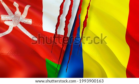 Oman and Romania flags with scar concept. Waving flag,3D rendering. Romania and Oman conflict concept. Oman Romania relations concept. flag of Oman and Romania crisis,war, attack concept