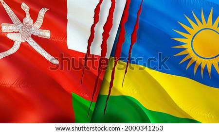 Oman and Rwanda flags with scar concept. Waving flag,3D rendering. Rwanda and Oman conflict concept. Oman Rwanda relations concept. flag of Oman and Rwanda crisis,war, attack concept