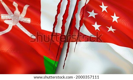 Oman and Singapore flags with scar concept. Waving flag,3D rendering. Singapore and Oman conflict concept. Oman Singapore relations concept. flag of Oman and Singapore crisis,war, attack concept