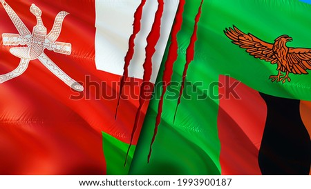 Oman and Zambia flags with scar concept. Waving flag,3D rendering. Zambia and Oman conflict concept. Oman Zambia relations concept. flag of Oman and Zambia crisis,war, attack concept