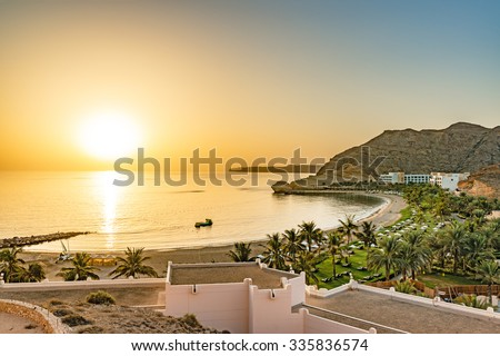 Oman Coast Landscape at Barr Al Jissah in Oman at sunrise. It is located about 20 km east of Muscat.