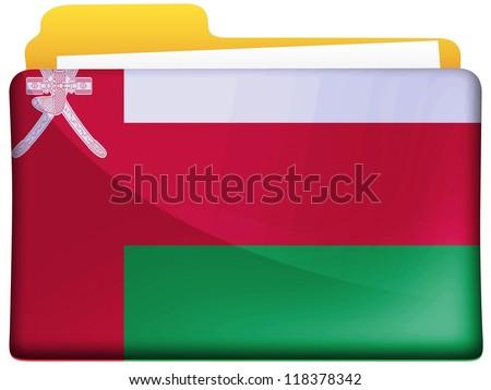 Oman flag painted on file folder icon