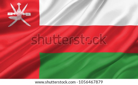 Oman flag waving with the wind, 3D illustration. Foto stock ©