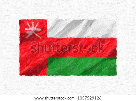 Oman hand painted waving national flag, oil paint isolated on white canvas, 3D illustration. Foto stock ©