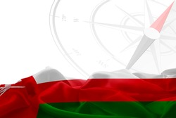 Oman High Resolution flag and Navigation compass in background