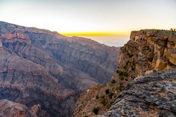 Oman. Jabal Shams (sometimes also spelled as Jebel Shams) is the highest mountain in Oman, right in the heart of the Western Hajar Mountain chain / December 2017