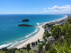 Omanu Beach viewed from the top of Mount Maunganui, Bay of Plenty, North Island New Zealand