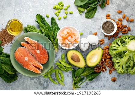 Omega 3 natural food sources concept, top down view of fresh food ingredients containing both plant or animal sources of Omega 3 Сток-фото ©