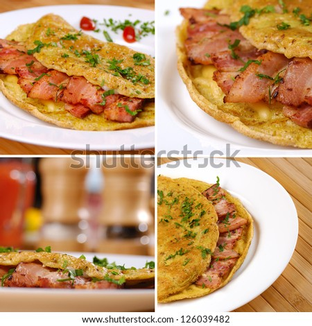 Omelet with bacon served on white plate set