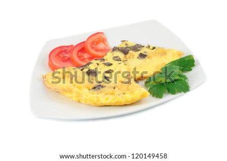 Omelet with black truffles