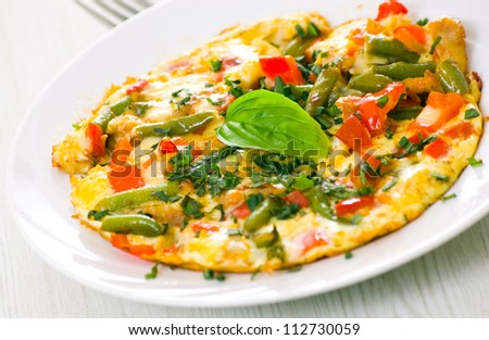 Omelet with green bean