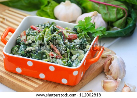 omelet with Swiss chard - stock photo