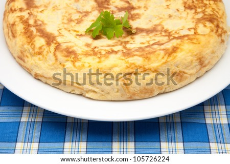 omelette of newly cooked potato ready to eat