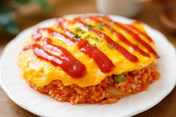 Omelette with rice, Japanese food