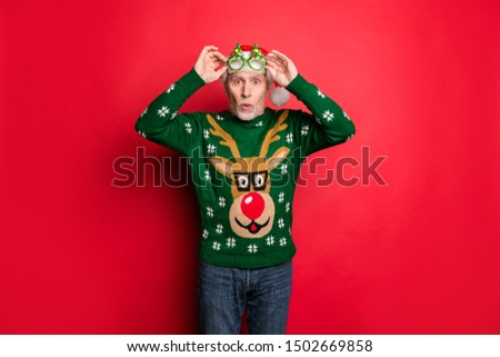 Omg best discounts on shopping night concept. Photo of astonished crazy with open mouth old guy looking watching see at you wearing green jumper jeans isolated bright color background