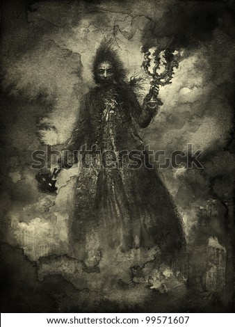 Ominous figure in clouds of smoke